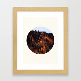 Mid Century Modern Round Circle Photo Graphic Design Autumn Orange Forest Hill Framed Art Print