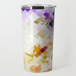 geometric square pixel pattern abstract background in purple brown Travel Mug