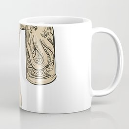 Hercules With Bottled Up Angry Octopus Drawing Coffee Mug