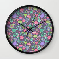 macaroon Wall Clocks featuring Macarons and flowers by Anna Alekseeva kostolom3000