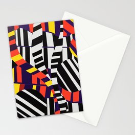 Black & White Stripes with Purple & Yellow Stationery Cards