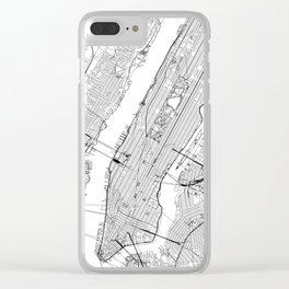 New York City White Map Clear iPhone Case