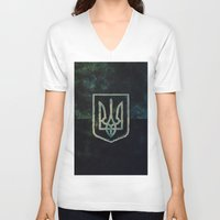 ukraine V-neck T-shirts featuring Ukraine by rudziox