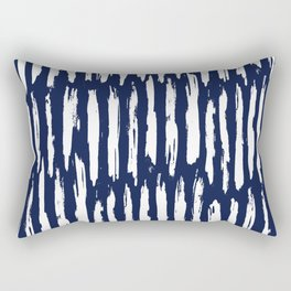 Vertical Dash White on Navy Blue Paint Stripes Rectangular Pillow