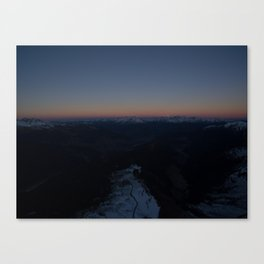 summit italy pass dolomites alps sunset snow boarder color Canvas Print