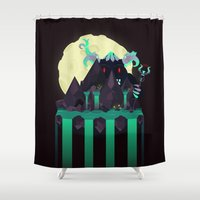 titan Shower Curtains featuring Moonlit Titan by badOdds