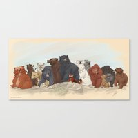 hobbit Canvas Prints featuring Hobbit bears by AiWa
