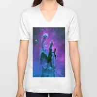 nebula V-neck T-shirts featuring Nebula Purple Blue Pink by 2sweet4words Designs
