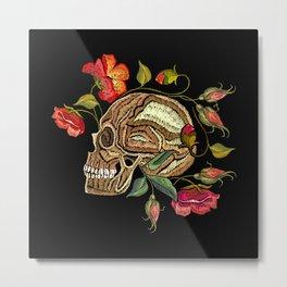 Skull Flower Patch Metal Print