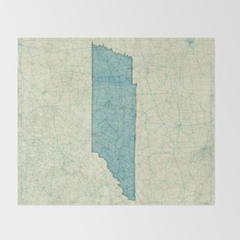 Tennessee State Map Blue Vintage Throw Blanket