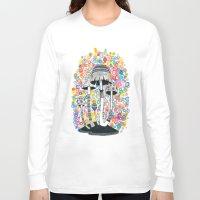 mushrooms Long Sleeve T-shirts featuring Mushrooms by Asja Boros