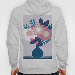 Blue White Pink Bouquet flowers Hoody