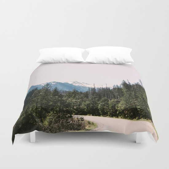 Mountain Landscape with Road Duvet Cover