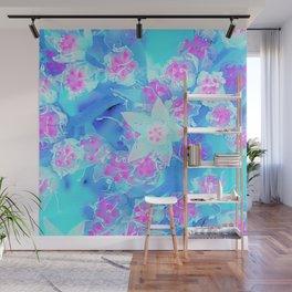 Blue and Hot Pink Succulent Underwater Sedum Flowers Wall Mural