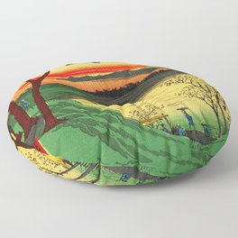 Japanese Tea House on River Floor Pillow