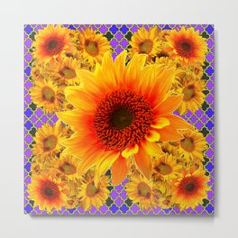 YELLOW-RED SUNFLOWERS ON   PURPLE PATTERN Metal Print
