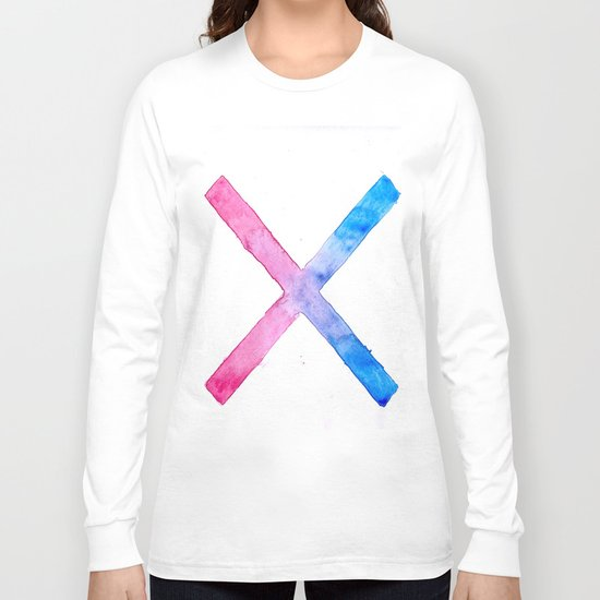 SUICIDE SQUAD HARLEY QUINN INSPIRED RED AND BLUE CROSS. Long Sleeve T-shirt