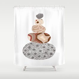 Colored Stack of Great Lakes Rocks Shower Curtain