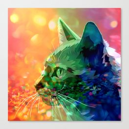 Rainbow-Colored Bejeweled Cat Canvas Print