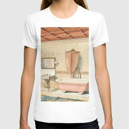 Vintage bathroom interior published in 1877-1893 by JL Mott Iron Works T-shirt