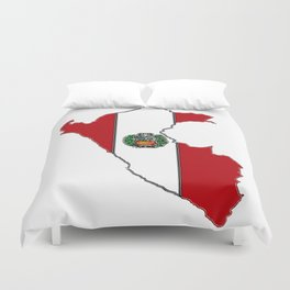 Peru map with Peruvian Flag Duvet Cover