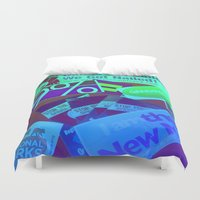 stickers Duvet Covers featuring Bumper Stickers by Ellen Turner