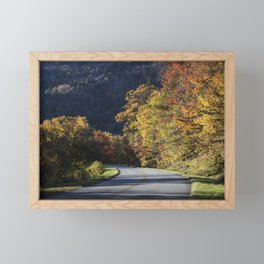 Bend in the roadway along the southern reaches of the Blue Ridge Parkway near Linville North Carolin Framed Mini Art Print