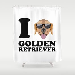 I Love Golden Retriever modern v1 Shower Curtain