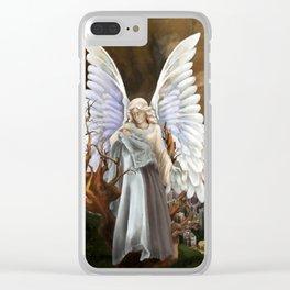 Gaurdian Angel Painting Clear iPhone Case