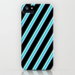 Vibrant Dark Slate Gray, Light Cyan, Dark Turquoise, Sky Blue, and Black Colored Lines Pattern iPhone Case