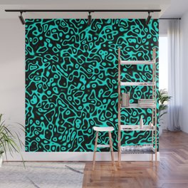 Abstract fractal blue marbleized psychedelic plasma Wall Mural