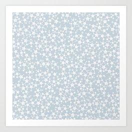 Block Printed Dusty Blue and White Stars Art Print