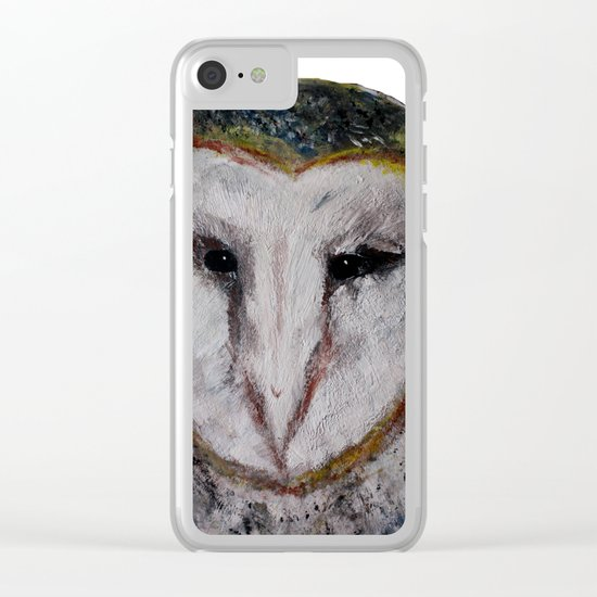 Barn Owl Impressionist Fine Art Clear iPhone Case