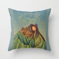hallion Throw Pillows featuring Volcano Love by Karen Hallion Illustrations