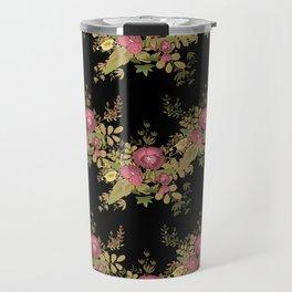 Colorful floral pattern on a black background . Travel Mug