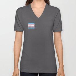 Gay Pride LGBT Transgender Distressed Stripe design Unisex V-Neck