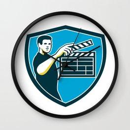 Film Crew Clapperboard Shield Retro Wall Clock