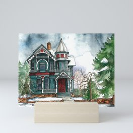 Blue House on a Grey Day Mini Art Print