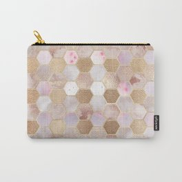 Hexagonal Honeycomb Marble Rose Gold Carry-All Pouch