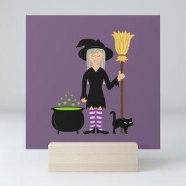 Cute Witch Girl And A Black Cat Halloween Design Mini Art Print