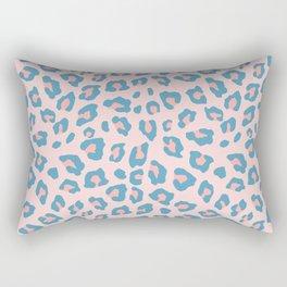 Leopard Print - Peachy Blue Rectangular Pillow