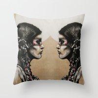 native Throw Pillows featuring Native by Mo Baretta
