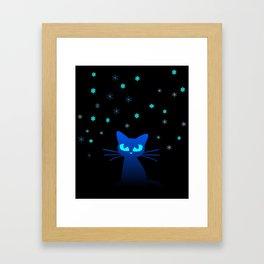 Glow in the Dark Cat Framed Art Print