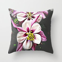 Floral Embosses: Double Columbine 01-01 Throw Pillow