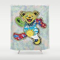 grateful dead Shower Curtains featuring Grateful Dead (Vector Art) by Troy Arthur Graphics