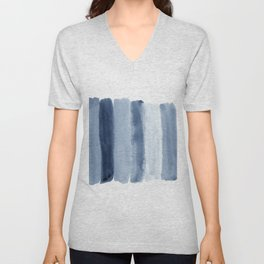 Absctract shades of blue watercolor print Unisex V-Neck
