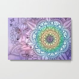 Purple Butterfly Mandala Metal Print