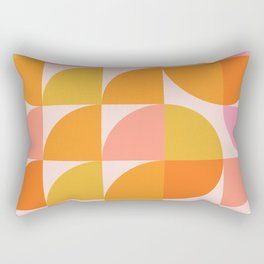 Mid Century Mod Geometry in Pink and Orange Rectangular Pillow