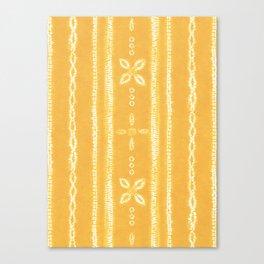 Shibori tie dye yellow and white floral stripes Canvas Print