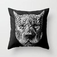 pitbull Throw Pillows featuring Pitbull by BIOWORKZ